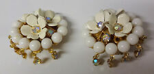 Vintage Signed LERU Haute Couture Runway Floral AB Gold Tone Clip On Earrings