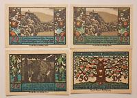 SCHWARZBURG NOTGELD 4x 50 PFENNIG 1922 EMERGENCY MONEY GERMANY BANKNOTES (9232)