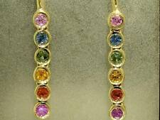E048 Genuine 9ct SOLID Yellow Gold NATURAL Rainbow Sapphire Earrings Journey