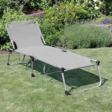 XXL Aluminium Sonnenliege 'Adelaid' Gartenliege Campingliege Liege Grau