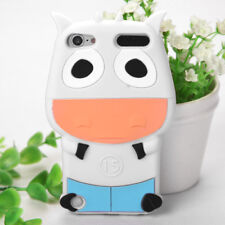 For iPod Touch 5th & 6th Gen - SOFT SILICONE RUBBER CASE COVER 3D WHITE BLUE COW