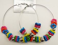 gorgeous style beaded 3 inch multi colorful Big hoop fashion  jewelry earring 91