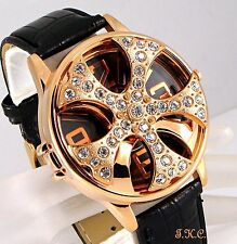 XL Gents Mens Unisex Black Leather Bling Crystal Gold Rapper Spin Ice Pimp Watch