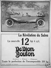 PUBLICITÉ 1922 AUTOMOBILE DEDION BOUTON LA RÉVÉLATION DU SALON LA NOUVELLE 12 HP
