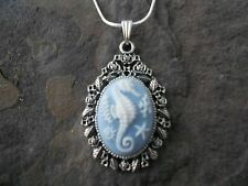 GORGEOUS SEAHORSE CAMEO NECKLACE (WHITE/BLUE) 925 PLATE CHAIN- QUALITY!!!