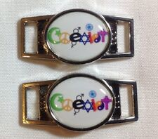 Coexist oval shoelace charm pair (2 charms) for shoes or paracord bracelets
