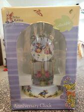 Beatrix Potter Peter Rabbit Anniversary Clock Glass Dome Porcelain Base Nursery