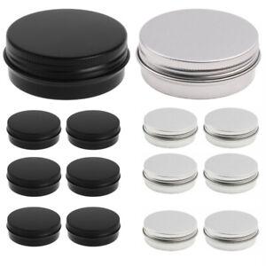 30 Aluminum Tin Jars Screw Top Round Metal Cans Bulk Food Cosmetic Container+Lid