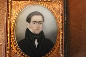 Excellent Abraham Parsell Miniature Portrait of Young Man, ca. 1820-30