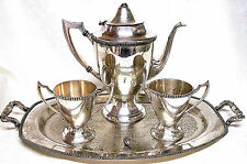 ANTIQUE SHEETS ROCKFORD 1875 4 PC SILVERPLATE COFFEE SET 1990-1940