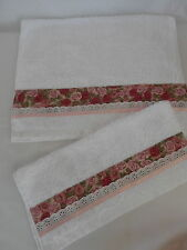 Bathroom hand or guest towel and face washer set (white), rose fabric trim.