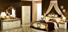 Luxury Glossy Ivory Gold King Bedroom Set 5 Classic Made in Italy Esf Barocco