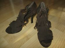 MADDEN GIRL Brown Suede Fringed Open Toe Heels Shoes - Size 9