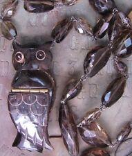 Antique French Horn Carved Owl Locket Pendant Necklace Smoky Quartz