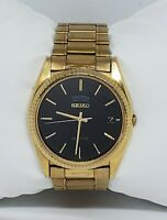 Vintage Mens Seiko Gold Tone Black Dial Watch 7N43 8119 Date Day on Top Rare B2
