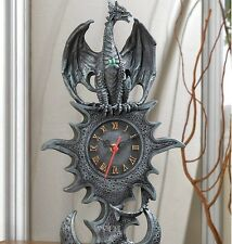 Medieval Dark Tower Royal Dragon Sculpture Statue Table Clock Faux Stone Stand