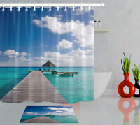 Pier Resort Dock Tropical Destination Shower Curtain Set Waterproof Fabric Hooks