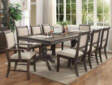 Crown Mark 2147 Merlot Classic Grey Finish Solid Wood Dining Room Set 9 Pcs
