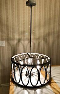 Large Round Farm House Iron 5-Light Pendant Chandelier Candle Drum Lamp Rustic