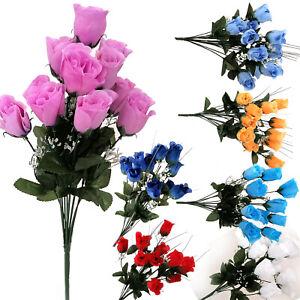 12 Heads Stems Artificial silk Flowers Rose Bunch Wedding Home Grave Outdoor