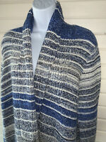 LUCKY BRAND Sz MEDIUM Blue Gray Striped Open Front Cardigan Sweater Jacket $128
