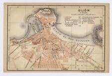 1913 ORIGINAL ANTIQUE CITY MAP OF GIJON / ASTURIAS / SPAIN