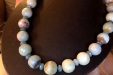"""Amazonite Jade Beads Faceted Silver Artisan Blue Beaded 18"""" Necklace NEW"""