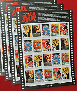 Three Sheets x 20 = 60 Of Vintage BLACK CINEMA 42¢ US USA Stamps. Sc # 4336-4340