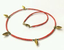 Natural Black Spinal, Coral Tiny Seed Beads Necklace with Brass Leaf Pendants