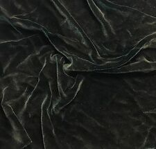"""Hand Painted Silk Velvet Fabric - Antique Gold on Dark Green 45"""" by the yard"""