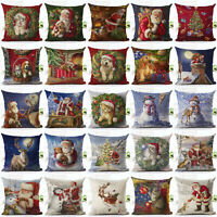 Merry Christmas Pattern Sofa Car Throw Cushion Pillow Cover Case Home Decor Gift