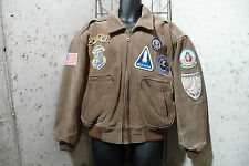 VINTAGE FLIGHT JACKET GENUINE LEATHER WITH PATCHES BROWN MENS SIZE S SMALL