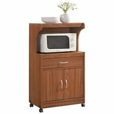 Microwave Cart Storage Cherry Finish Kitchen Wood Organizer Pantry Drawer Sturdy