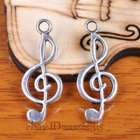 60pcs 25mm Charms Music Pendant Tibet Silver DIY Jewelry Bracelet Necklace A7113