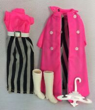 Dawn Doll Outfit Maxi Mod Clothes Hot Pink Black Outfit Dress Coat w Boots 1970s