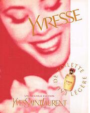 PUBLICITE ADVERTISING 045  1997  YVES SAINT LAURENT  eau de toilette YVRESSE