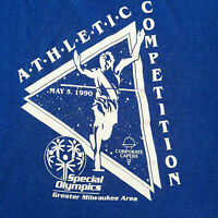 Vtg 90s Special Olympics T Shirt Athletic Milwaukee Blue Screen Stars Soft 50/50