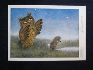 Autograph Yuri Norstein HAND Signed print Hedgehog in the Fog Owl Y. Norshteyn