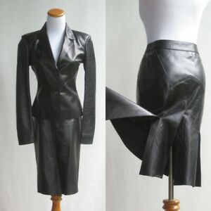 Prada Black Leather Suit OUTSTANDING Pleated Skirt Chic Fit Jacket Blazer 38/4