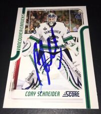 CORY SCHNEIDER - SIGNED - 2011/12 Score #454 Card! Autographed Vancouver Canucks