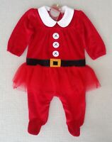 BNWT NEXT Baby Girls Red Santa Christmas Tutu Babygrow All In One Newborn 10lbs