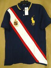 NEW Polo Ralph Lauren Mens XL Big Pony Crest Polo Shirt Navy Blue Gold Embroider