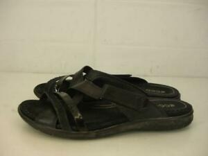 Womens 9 9.5 sz 40 ECCO Intrinsic Black Leather Strappy Sandals Slip-On Open Toe