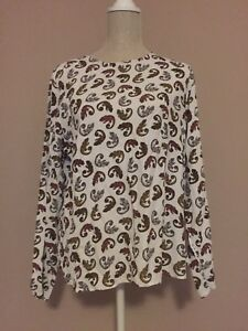 H&M White Chameleon Print Long Sleeve Keyhole Casual Blouse Size UK 16 EUR 44