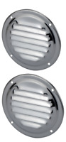 2 x  Round Stainless Steel Wave Louvre Vent, Caravan, Boat, RV, Cupboard