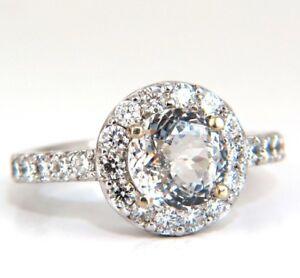 GIA Zertifiziert 3.28ct Natürlich Weißer Saphir Diamanten Ring 14kt Halo Prime