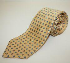 KITON 7 Fold Thick Silk Twill Tie Golden Yellow Medallion Floral Made Italy