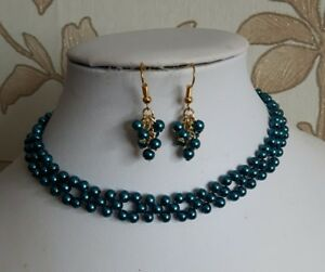 """Beaded choker necklace set teal glass pearl gold earrings 13"""" WOMENS"""