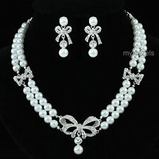 Cubic Zirconia Pearl Costume Jewellery Sets