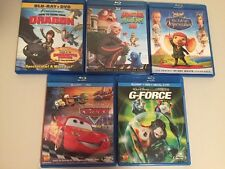 Lot of 5 Kids Blu-Ray DVD Cars G-Force Monsters Vs Aliens Despereau Train Dragon